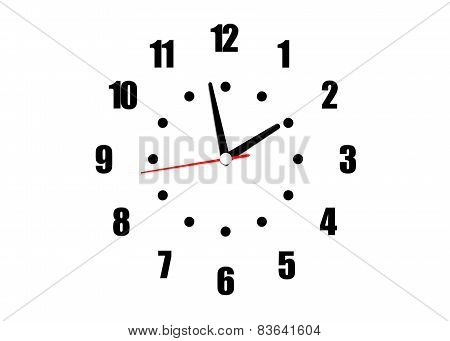 Clock With Arrows And Numerals Isolated