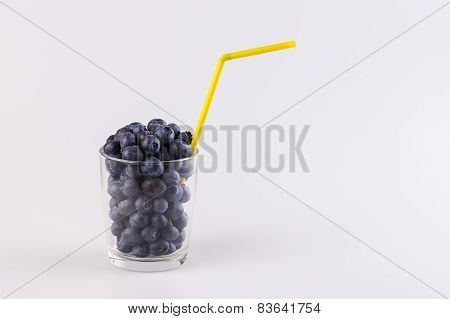 Glass of fresh blueberry ready for smoothie