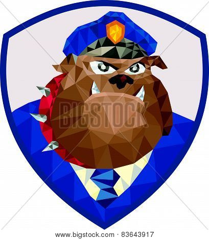 Bulldog Policeman Shield Low Polygon