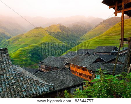 Rice terraces and traditional village