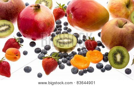 Close Up Of Mixed Fruit Isolated On White
