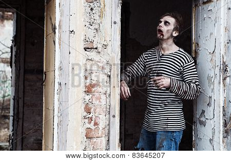 Zombie Locked Between Two Walls