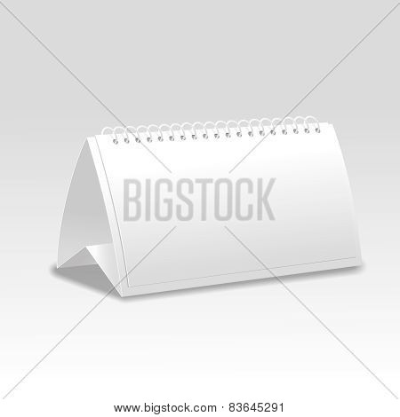 Vector 3D Table Paper Card Isolated On White Background.