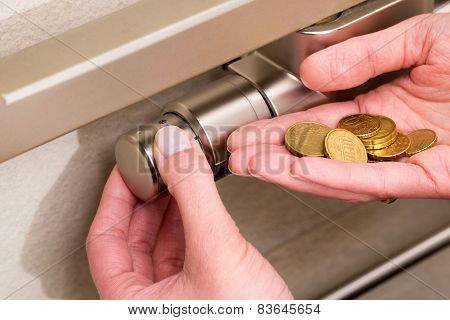 Radiator Thermostat, Coins And Hand