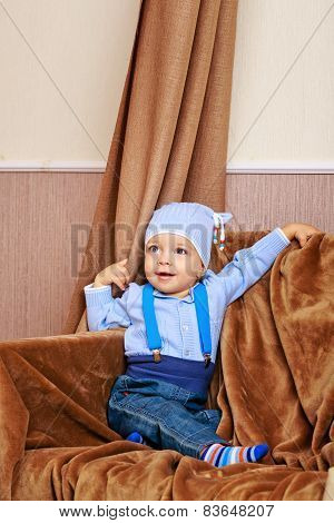 Baby blouse and jeans with suspenders