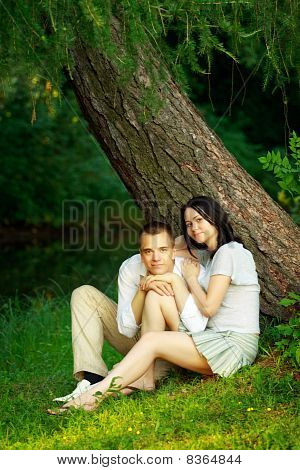 Young Couple Sitting Under Tree