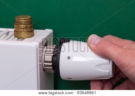 Radiator Thermostat, Coins And Hand - Dark Green