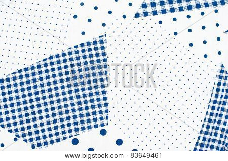 Square Check Tablecloth Pattern With Small And Big Polka Dots.