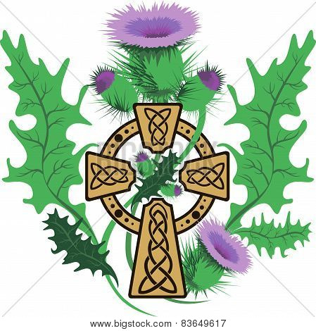 Stylized Celtic Cross Framed Thistle Flowers