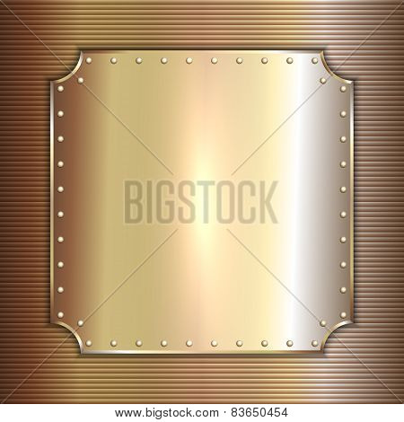 Vector precious metal golden plate with rivets background