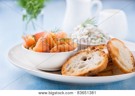 Smoked Wild Salmon, Baguette And Soft Cheese With Herbs