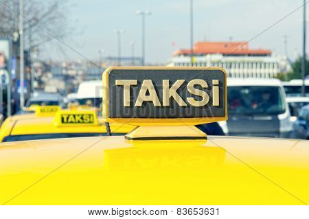 Yellow sign of the Istanbul taxi TURKEY