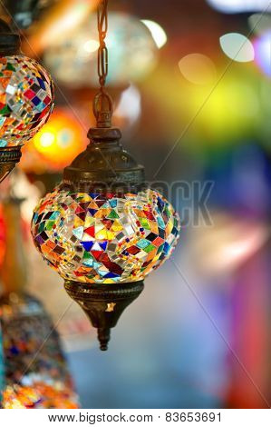 lamps for sale on Grand Bazaar at Istanbul Turkey
