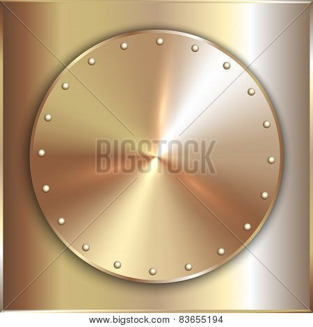 Vector precious metal round golden plate with rivets