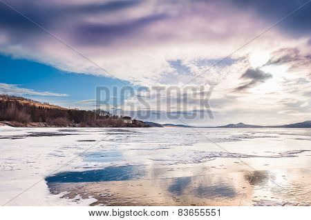 Fantastic Winter Landscape With Frozen Lake