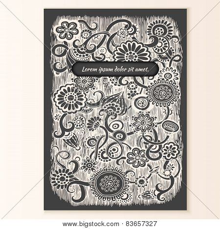 Template poster with doodle floral background.