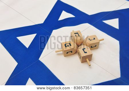 Israeli Flag With Wooden Dreidels