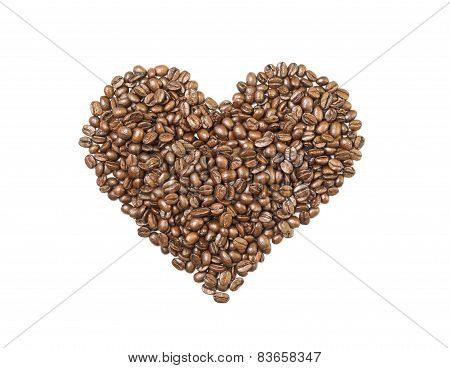 Heart shape made of coffee beans isolated
