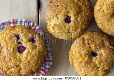 Raspberry Muffins from Above with Checkered Muffin Cup