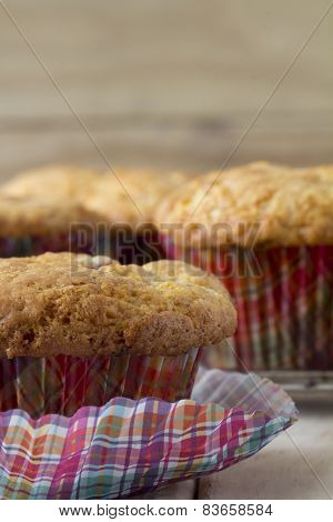 Raspberry Muffins with Checkered Muffin Cup