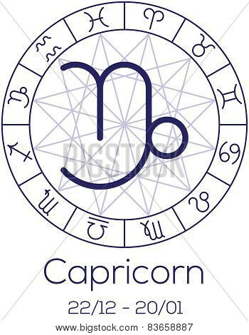 Zodiac Sign - Capricorn. Astrological Symbol In Wheel With Polygonal Background.
