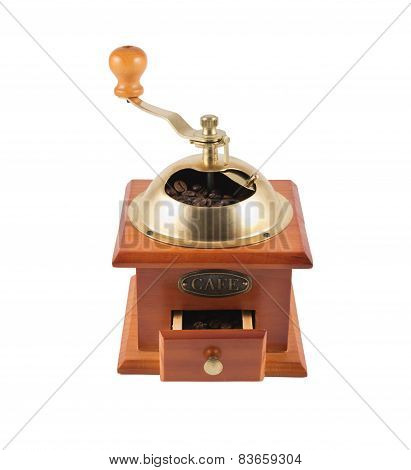 Manual coffee bean mill grinder isolated