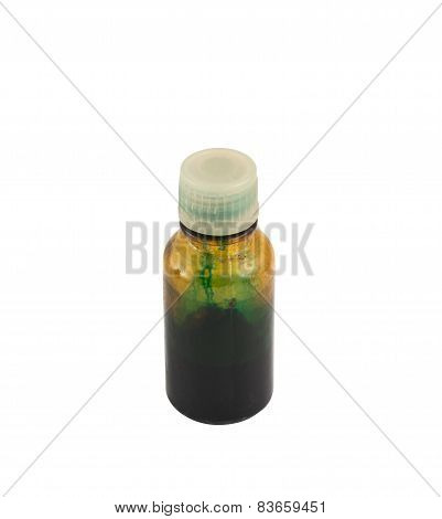 Vial of brilliant green antiseptic isolated