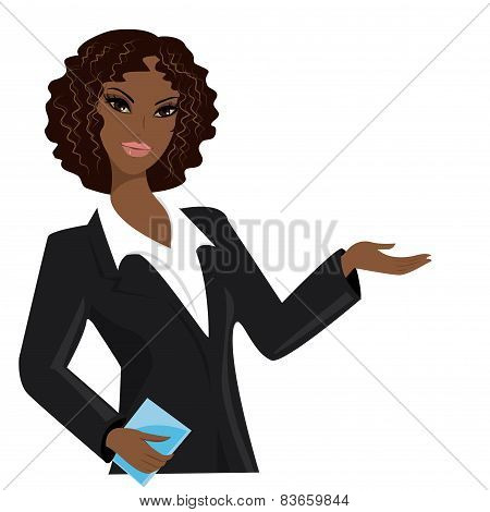 African American Business Woman,  Cartoon Vector Illustration