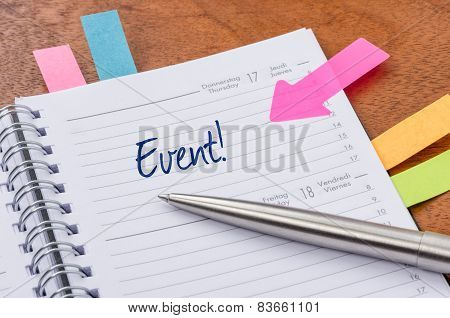 A daily planner with the entry Event