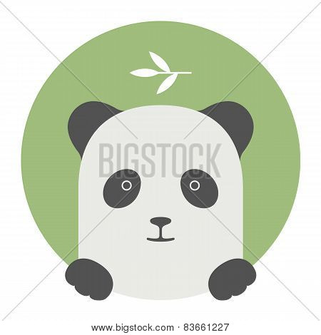 Animal set. Portrait in flat graphics - Panda