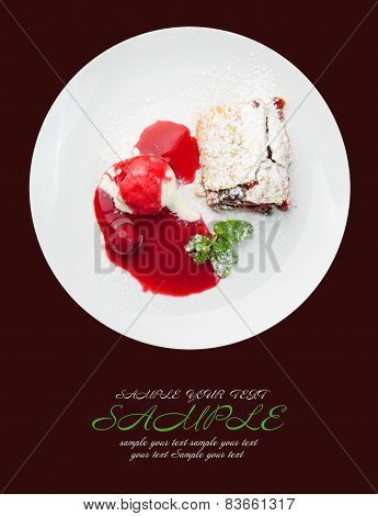 Restaurant Food Isolated - Cherry Strudel With Ice Cream And Sauce