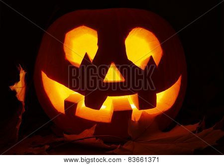 Glowing in a dark Jack-o'-lantern pumpkin