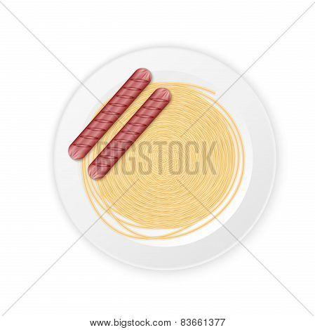 spaghetti cream sauce with sausage