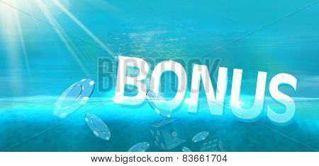 Bonus and casino coins diving in blue ocean