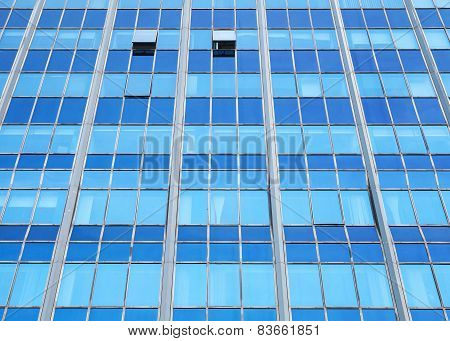 Modern Office Facade Perspective With Blue Glass