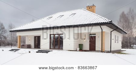 Snow Covered Single Family House