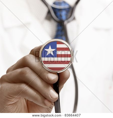 Stethoscope With National Flag Conceptual Series - Liberia