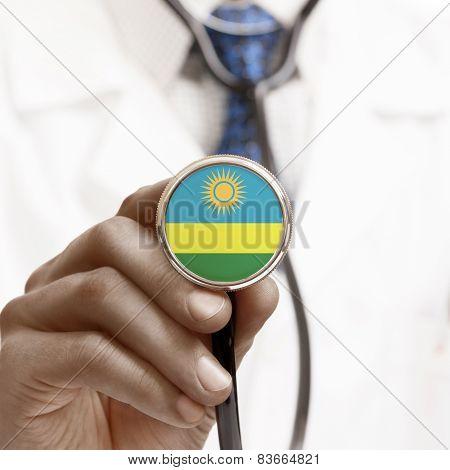 Stethoscope With National Flag Conceptual Series - Rwanda