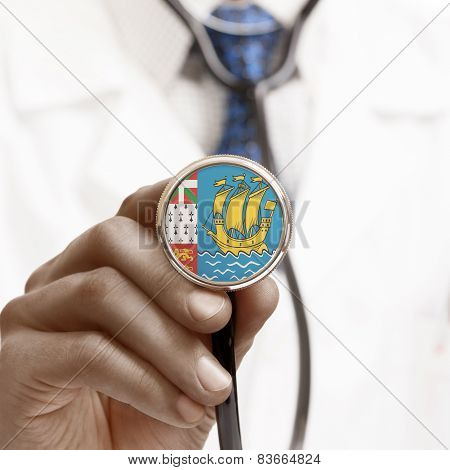 Stethoscope With National Flag Conceptual Series - Saint-pierre And Miquelon