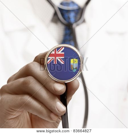 Stethoscope With National Flag Conceptual Series - Saint Helena