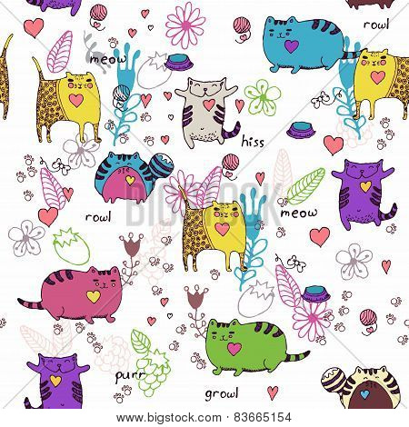 Cats seamless pattern in doodle style.