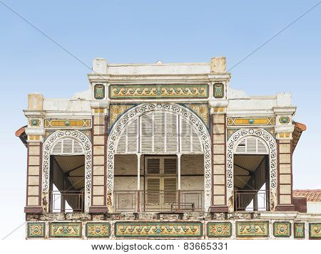 DAKAR, SENEGAL, AFRICA - JULY 20, 2014 - Abandoned railway station, colonial building