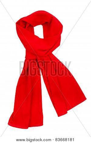 Red Silk Scarf Isolated On White Background