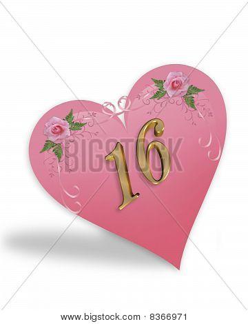 Sweet 16 pink heart