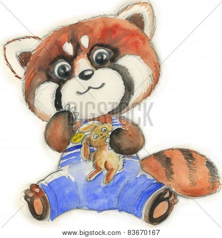 Red panda with toy watercolor