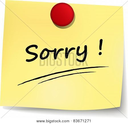 Sorry Yellow Note