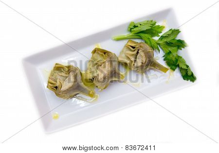 Boiled artichokes from above