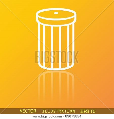 Recycle Bin Icon Symbol Flat Modern Web Design With Reflection And Space For Your Text. Vector
