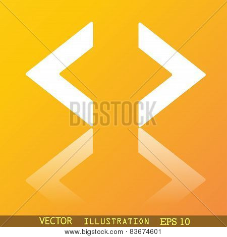 Code Icon Symbol Flat Modern Web Design With Reflection And Space For Your Text. Vector