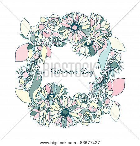 Women's day, flower wreath